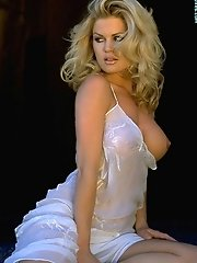 Neriah Davis in Monroe Style Blonde in Sheer See Thru Lingerie