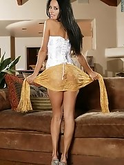 Lucia Tovar in Colombian Gold in White Corset